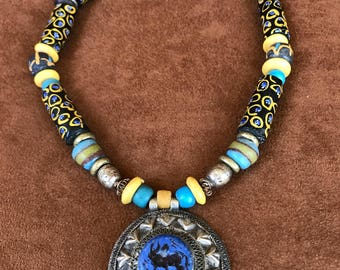Rare Venetian Eye Bead Necklace with carved blue stone Afgan pendant.