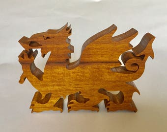 Welsh dragon. Mythical dragon, wooden mythical dragon. Christmas present.