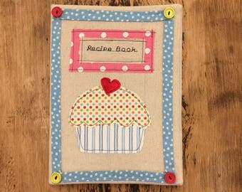 Large Recipes book fabric cover can be personalised for free