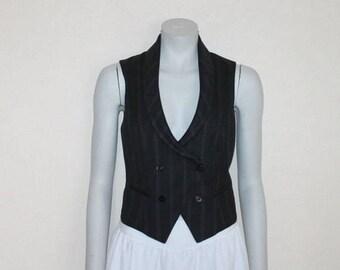 Black Striped Women's Vest Steampunk Waistcoat Formal Fitted Wool Blend Renaissance Baroque Edwardian Victorian Suit Collar Medium Size