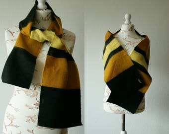 Vintage soft mustard yellow black striped scarf Vintage soft warm acrylic silk blend wide scarf Autumn winter hipster scarf Made in France