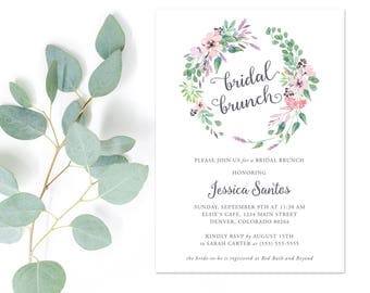Watercolor Floral Rustic Bridal Shower Brunch Invitations | Bohemian Country Bridal Shower Invite | Printable or Printed | F2BS