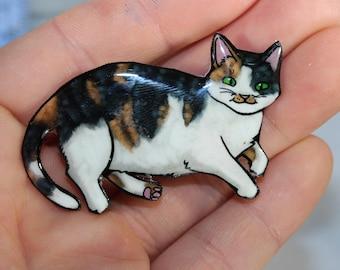 Fat Calico Cat Magnet: great gift for cat lover for locker fridge or car Calico loss memorial