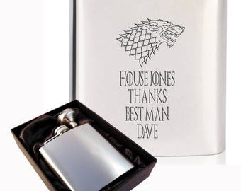 Customised engraved Best Man 6oz mirror stainless steel hip flask - Game of Thrones -  wedding gift in black presentation box