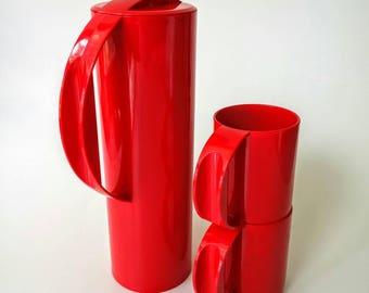 Red Rosti Water Pitcher, Red Rosti Cups  | Rosti Martini Pitcher and Cup Set, Red Mepal Carafe, Rosti Pitcher, Rosti Set , Made in Holland,