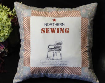Decorative patchwork floral pillow case Accent Antique furniture Chair Grey pink cushion cover Vintage lover gift  Grandma gift Cotton Linen