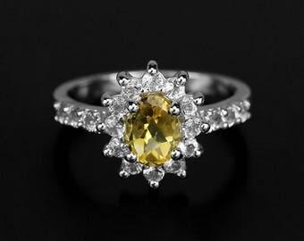 Yellow Citrine Ring, November Birthstone Ring, Yellow Stone ring, Engagement Ring, Halo ring, Promise Ring, White Topaz, Anniversary Ring