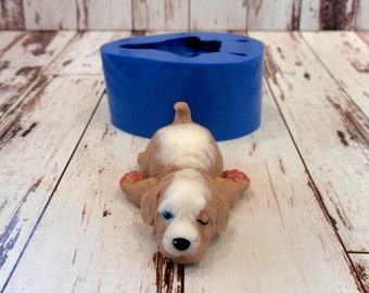 Sleepy puppy - silicone mold for soap and candles making mould molds