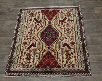 3X4 Nice Animal Design Small Shahrbabak Persian Rug Oriental Area Carpet