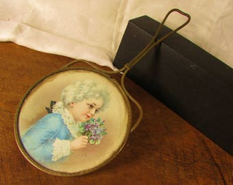 Shabby Brass Hand Mirror Victorian Chromo Litho Lithograph Blue Child Boy Girl with Flowers Beaded Hearts Beveled Glass