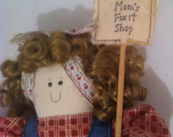 "Vintage 1997 Doll, ""Mom's Fix It Shop"" 18"" Tall, Home Decor, House Decoration, Apron with Tools, Goodies"