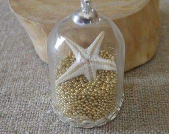 Pendant jar glass micro beads gold and starfish