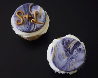 Marble Cupcake Toppers