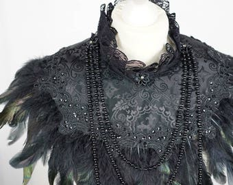 Gothic couture Cross jacquard collar cape, cape with feathers