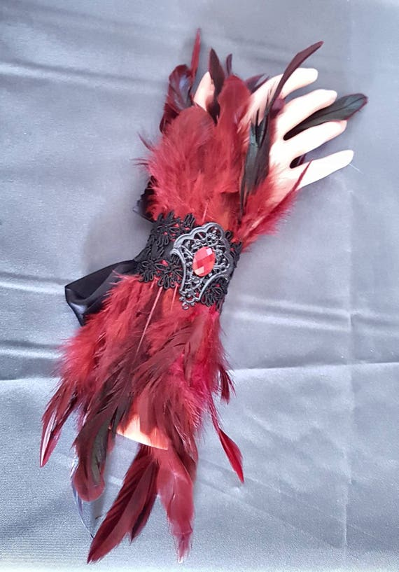 Winered feather cuffs / spring arm warmers in Burgundy with Ribbon and cabochon
