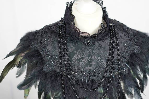 Gothic couture cross Jacquard collar cape, Cape with springs