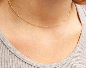 Gold - dainty - bead - choker - necklace - satellite necklace - choker necklace - gold choker - layering - gold necklace - minimal - M30370