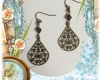 Brass Filigree Chandelier Earrings