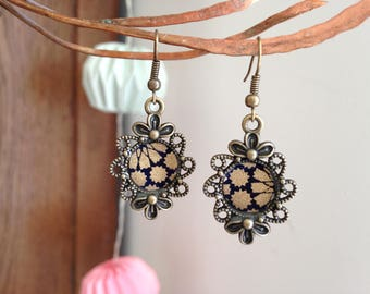 Blue and gold Japanese paper earrings.
