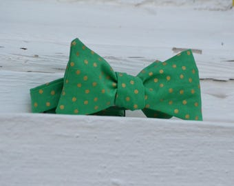 Gold Dots on Green Bow Tie | Father Son, Matching Bow Tie, HANDMADE CUSTOM ORDER, Pre-Tie or Self-Tie | Mens, Boys, Toddler or Baby