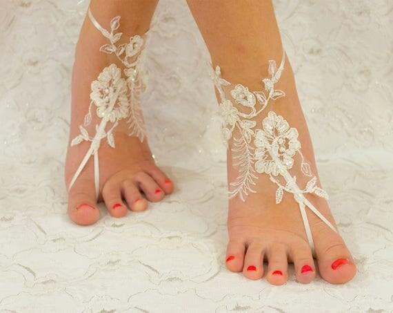 Wedding shoes for bride, Bridal sandals, France Lace Anklet, Lace Wedding Shoes, Wedding Barefoot Sandals, Beach Shoes, Beach Sandals