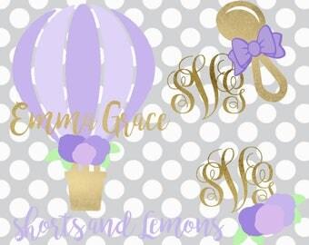 Baby Girl Svg, Monogram set, Baby Shower svg, It's a girl svg, baby, newborn svg, flower svg, hot air balloon, balloon svg, DXF, PNG, svg