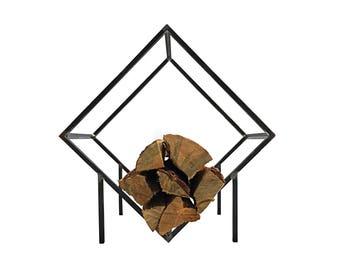 Small Firewood Holder//Firewood Storage Box//Modern decor//Free Shipping