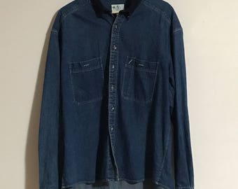 Vintage Mens Denim Shirt with Corduroy Collar