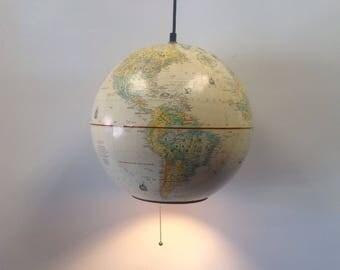 "Globe Pendant light, Replogle World Nation globe 12"" Cream vintage globe pendant light"