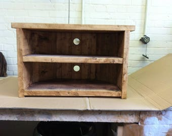 Hand Made Solid Wood Corner Tv Stand - solid wood with back - Rustic