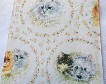 Vintage   Cat and Dog   Wrapping Paper #2