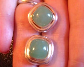 Sterling Silver Pale Green Stone Earrings