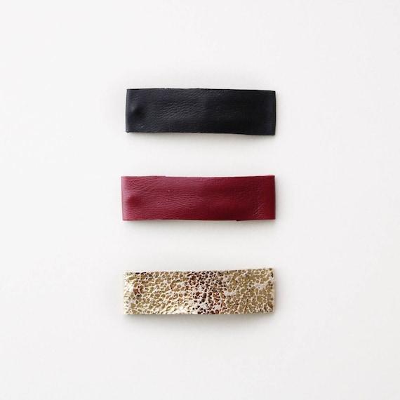 Snap clip set   genuine Italian leather snap clips   simple and modern hair clips   simple hair clips
