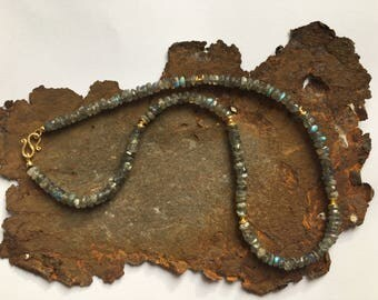 Labradorite necklace with gold elements in gilded 925 silver