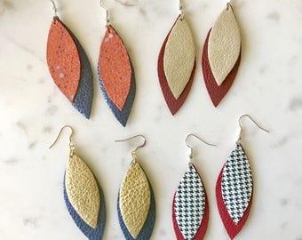 CUSTOMIZABLE GAMEDAY Double Leaf Leather Earrings-Team Colors-High School-College-Pro Spirit Wear Fan Gear