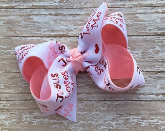 Jesus loves me hair bow, Boutique hair bow,  easter hair bow, boutique bow, 4 inch hair bow, Christian hair bow, Religious hair bow,