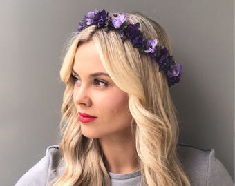 Purple flower crown wedding flower headpiece bridal floral crown wedding flower crown adult flower hair wreath bridal flower crown
