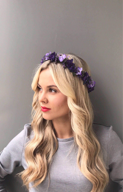 Purple Flower Crown Wedding Flower Headpiece Bridal Floral Crown