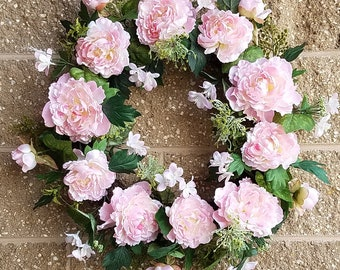 "ESE Peony door Wreath , 24"" PINK,  white"