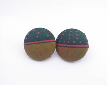 Earrings in African wax print fabric with polka dots