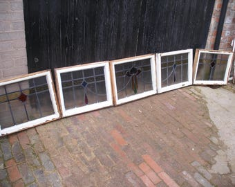 Set of 5 stained glass leaded windows in wooden frames