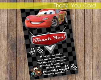 Cars Thank You Card Cars Printable Thank You Cars Thank You Card Instant Download DIGITAL FILE