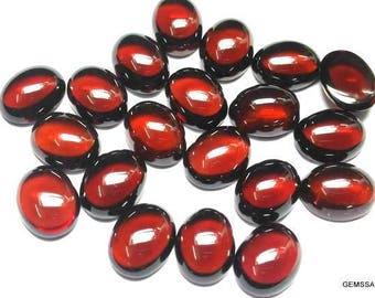 10 Pieces 4x6mm Red Garnet Cabochon Oval Gemstone, Natural red garnet Oval cabochon gemstone, red garnet cabochon oval gemstone