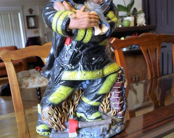 Willian Wallace Jr Fireman Carrying A Baby to Safety Lamp Sculpture