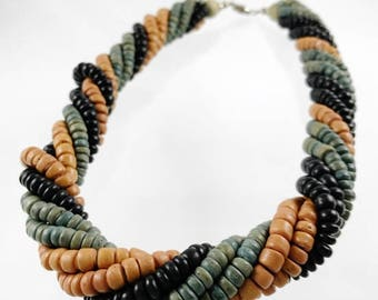 Twisted Strands Beaded Wood Necklace with Muted Shades