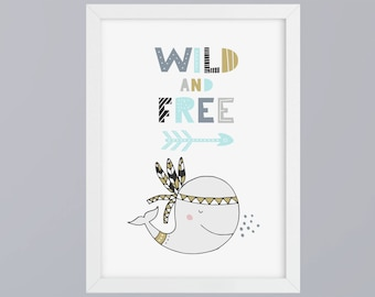 Wal-Wild & Free boy-art print without frame