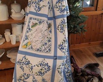 Colorado Lap Quilt/Unique Vintage Colorado Hanky Lap Quilt/Columbine Lap Quilt/Blue and White Lap Quilt/Unique One of a Kind Lap Quilt