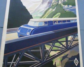 Vintage Poster, Original Travel Poster, Austria by Rail, 1930s, Lithograph, Wunschheim, WIEN, Train, Rail, Collectible Art, Rare