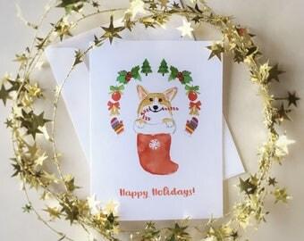 Corgi Christmas card / Corgi gift / Watercolor Corgi card