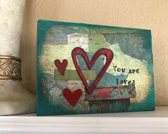 You Are Loved Mixed Media Canvas Home Decor Open Heart Series